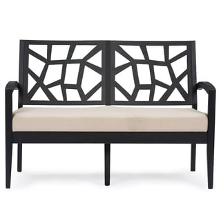 Baxton Studio Jennifer Black Wood and Khaki Fabric Modern Loveseat