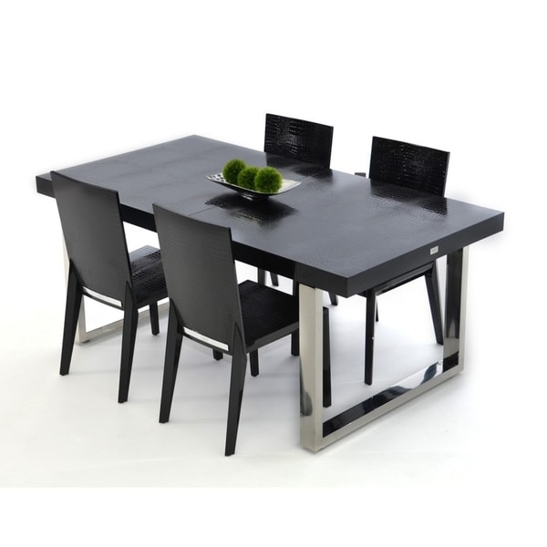 Shop A X Skyline Modern Black Krocodile Lacquer Extendable Dining