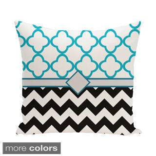 Decorative Outdoor Moroccan and Chevron Mixed Print 20-inch Pillow