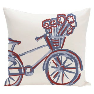 Decorative Outdoor Large Novelty Bike Print 20-inch Pillow