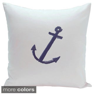 Decorative Outdoor Nautical Anchor Coastal Print 20-inch Pillow