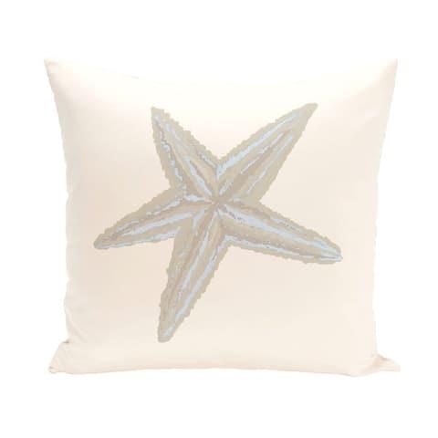 Decorative Outdoor Starfish Coastal Print 20-inch Pillow