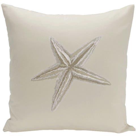Decorative Outdoor Coastal Starfish Print 20-inch Pillow