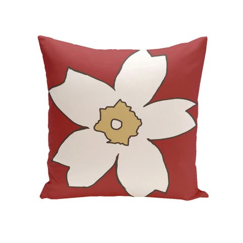 Decorative Outdoor Large Floral Print 20-inch Pillow