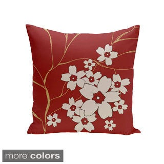 Decorative Outdoor Floral and Branch Print 20-inch Pillow