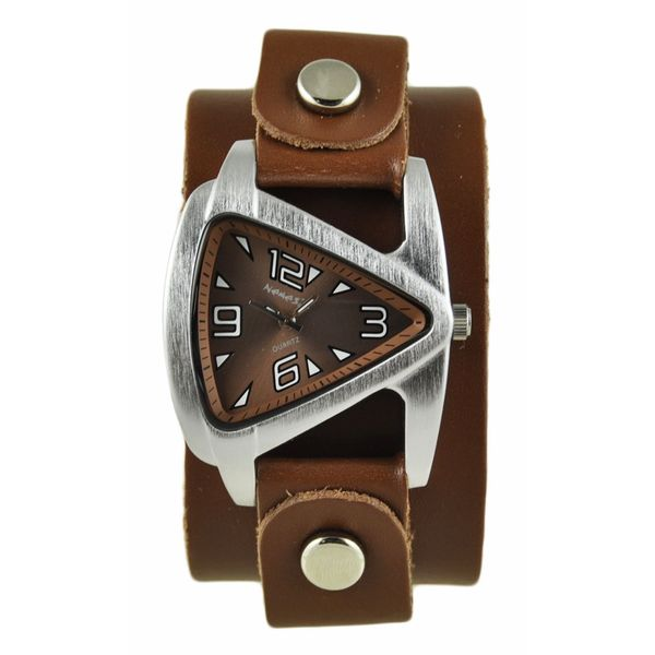 Nemesis Womens Brown Small Triangle Watch with Brown Leather Cuff Band. Opens flyout.
