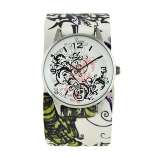 Nemesis Womens Pink Plant Art Watch with Multi-Color Tattoo Floral Design Leather Cuff Band