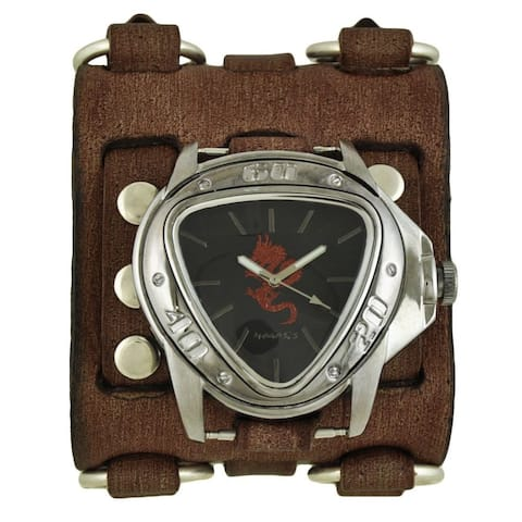 Nemesis Black and Red Dragon Gunmetal Watch with Faded Brown Wide Detail Leather Cuff Band