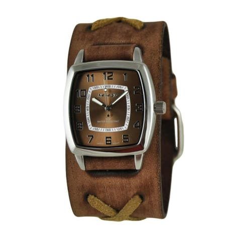 Nemesis Brown Classic Vintage Unisex Watch with Faded Brown X Leather Cuff Band