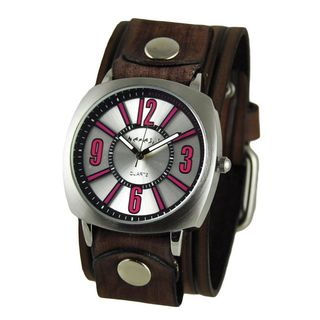 Nemesis Silver and Pink 'Comely' Unisex Watch with Vintage Brown Embossed Stripes Leather Cuff Band