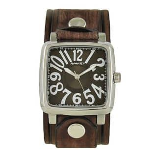 Nemesis Brown and White '3D Squared' Unisex Watch with Vintage Brown Embossed Stripes Leather Cuff Band|https://ak1.ostkcdn.com/images/products/10156104/P17285495.jpg?impolicy=medium