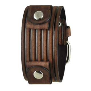 Vintage Brown Embossed Stripes Leather Cuff Band|https://ak1.ostkcdn.com/images/products/10156105/P17285496.jpg?impolicy=medium