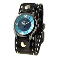 Nemesis Blue Embossed Men's Watch with Dark Brown Double Stitched Leather Cuff Band