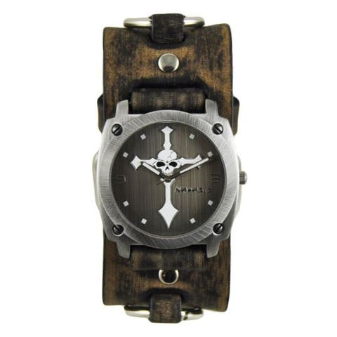 Nemesis Silver and White Skull Cross Mens Watch with Faded Dark Brown Ring Leather Cuff Band