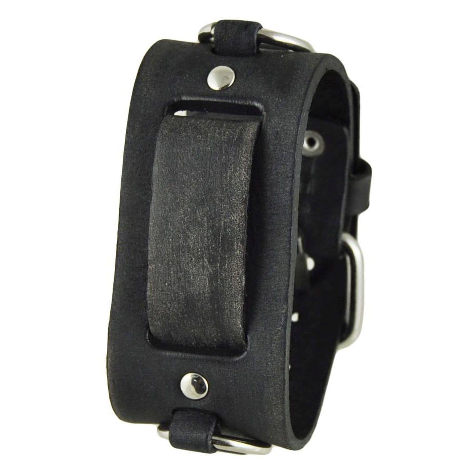 Nemesis Faded Black Leather Ring Watch Cuff Band 20-22mm ...