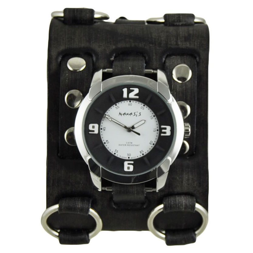 Nemesis Black and White Embossed Men's Watch with Faded B...