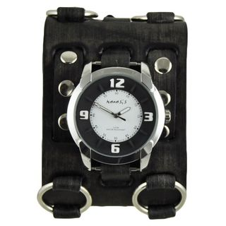 Nemesis Black and White Embossed Men's Watch with Faded Black Wide Detail Leather Cuff Band