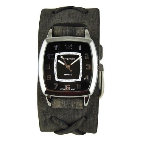Nemesis Black Classic Vintage Unisex Watch with Faded Black X Leather Cuff Band