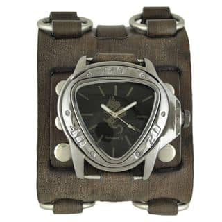 Nemesis Black and Silver Dragon Gunmetal Watch with Faded Black Wide Detail Leather Cuff Band|https://ak1.ostkcdn.com/images/products/10156120/P17285509.jpg?impolicy=medium