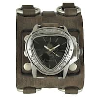 Nemesis Black and Silver Dragon Gunmetal Watch with Faded Black Wide Detail Leather Cuff Band