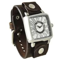 Nemesis Silver Black '3D Squared' Unisex Watch with Faded Brown Leather Cuff Band