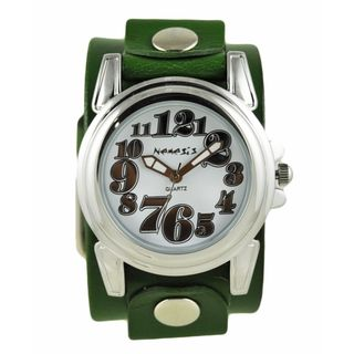 Nemesis Silver 'Trendy' Womens Watch with Green Junior Size Leather Cuff Band