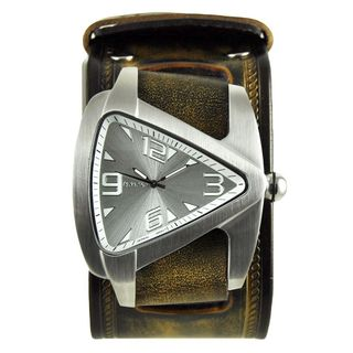 Nemesis Silver Oversized Teardrop Mens Watch with Gold and Black Embossed Leather Cuff Band
