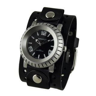 Nemesis Black 'Wheelman' Mens Watch with Black Basic Jumbo Leather Cuff Band