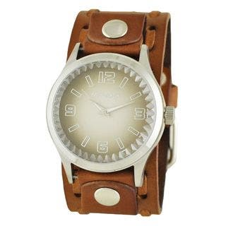 Nemesis Brown and White 'Gradient Pointium' Mens Watch with Brown Wide Weaving Leather Cuff Band|https://ak1.ostkcdn.com/images/products/10156125/P17285514.jpg?impolicy=medium