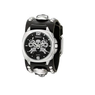 Nemesis Black and Silver Dragon King of Skulls Watch with Black Skull Studded Leather Cuff Band