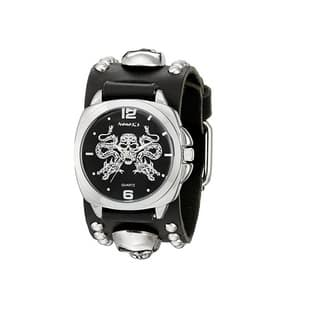 Nemesis Black and Silver Dragon King of Skulls Watch with Black Skull Studded Leather Cuff Band|https://ak1.ostkcdn.com/images/products/10156126/P17285515.jpg?impolicy=medium