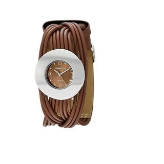 Nemesis Women's Brown and Silver Tangled Brown Leather Strap Watch