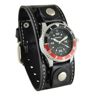 Nemesis Black and Red Classy Classic Diver Mens Watch with Black Single Stitched Leather Cuff Band