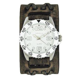 Nemesis White 'Groovy' Mens Watch with Faded Black Double X Leather Cuff Band|https://ak1.ostkcdn.com/images/products/10156133/P17285520.jpg?impolicy=medium