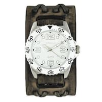 Nemesis White 'Groovy' Mens Watch with Faded Black Double X Leather Cuff Band