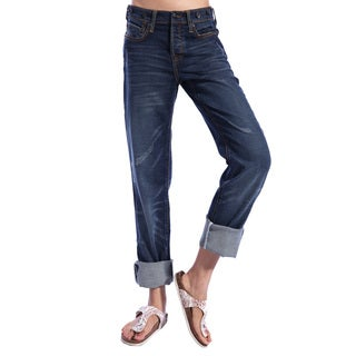 Stitch's Women's Blue Relaxed Boyfriend Jeans