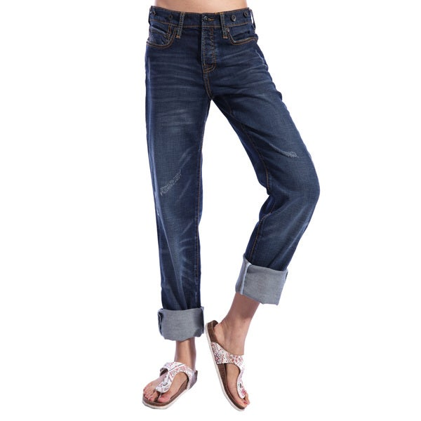 Stitch's Women's Blue Relaxed Boyfriend Jeans