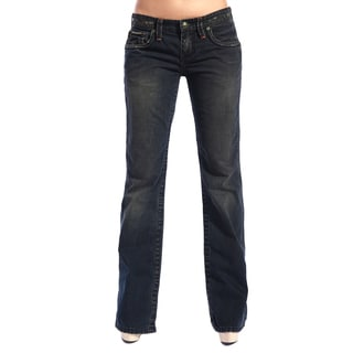 Stitch's Women's Faded Blue Denim Bootleg Jeans