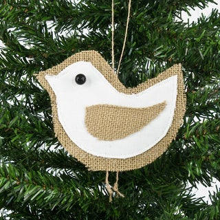 White Wing Burlap Serged Ornament (Set of 6)