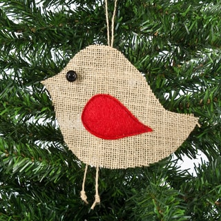 Red Wing Burlap Ornament Serged with Black Button Eye (Set of 6)