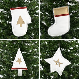 Magnum White with Shimmer Gold and Red Ornament (Set of 4)