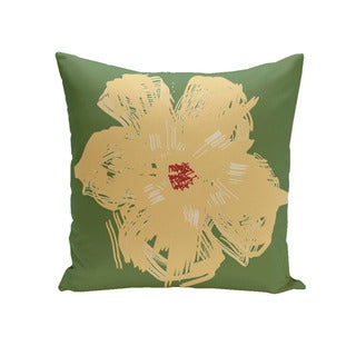Floral Print 18 x 18-inch Decorative Pillow (Beige and Green and Red)