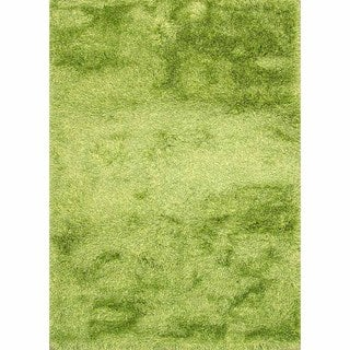 Lyric Lime Green Hand-knotted Shag Rug (India)