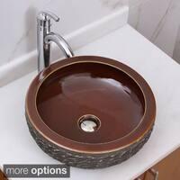 ELIMAX'S 2002+882002 Natural Rock and Bronze Glaze Pattern Porcelain Ceramic Bathroom Vessel Sink With Faucet Combo