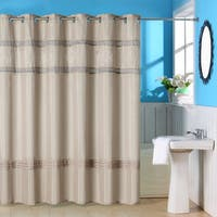Windsor Home Creamy Brown Embroidered Shower Curtain with Grommets