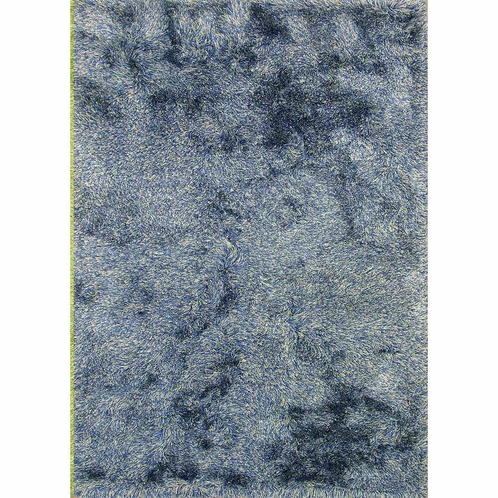 Lyric Marine Blue Hand Knotted Shag Rug (India) (Pink - 3...
