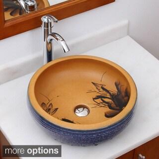 ELIMAX'S 2008+882002 Sapphire Glaze Outlook Pattern Porcelain Ceramic Bathroom Vessel Sink With Faucet Combo