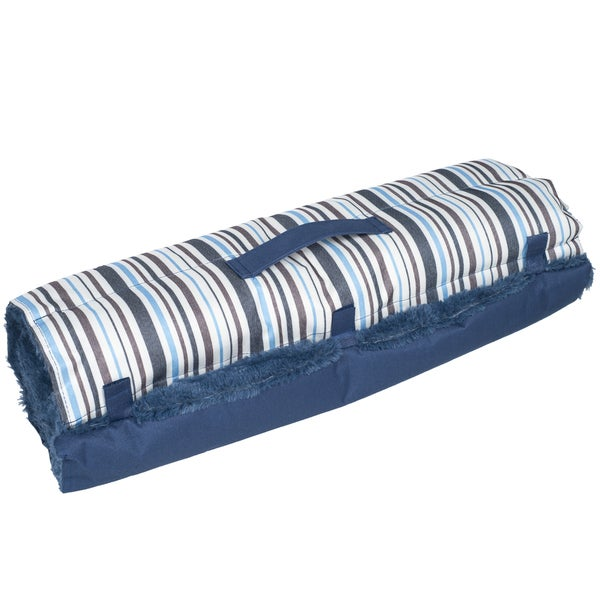 Paw Roll Up Travel Portable Plush Blue Stripe Dog Bed