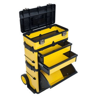 Stalwart Yellow Deluxe Rolling 33-inch Steel Tool Box Trolley