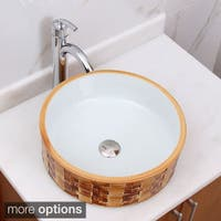 ELIMAX'S Yellow Brick and White Porcelain Ceramic Bathroom Vessel Sink with Faucet Combo